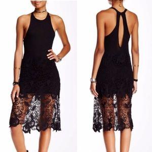 Free People • Black Nora Lace Overlay Midi Dress L